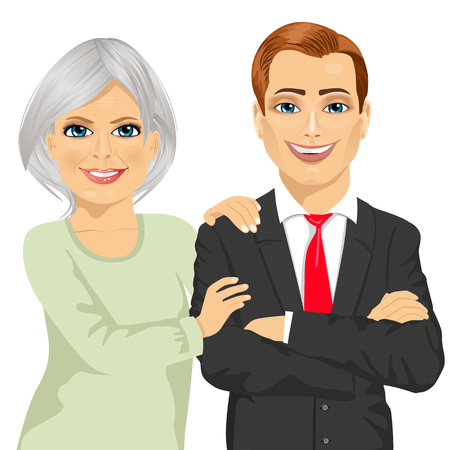 Illustration pour happy mother embracing her son dressed in business suit standing with arms folded isolated on white background - image libre de droit