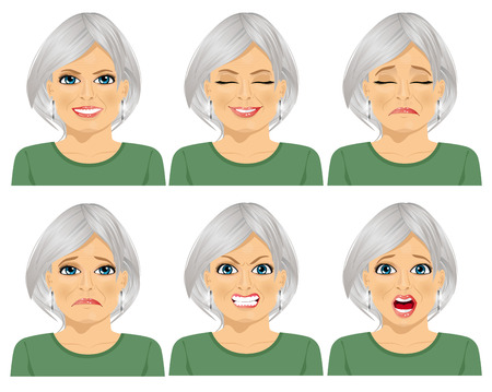 Illustration for set of different expressions of the same senior woman over white background - Royalty Free Image