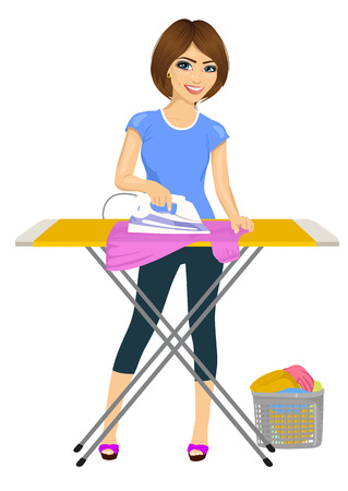 full length portrait of young woman ironing clothes. Housework. Isolated on white