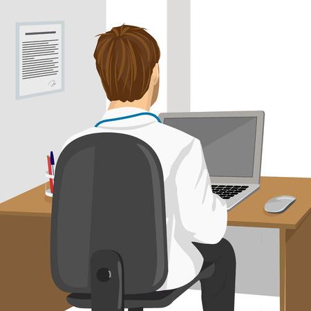 Illustration pour back view of medical doctor using laptop in clinic - image libre de droit
