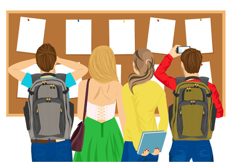 Illustration pour back view of college students looking at a bulletin board - image libre de droit