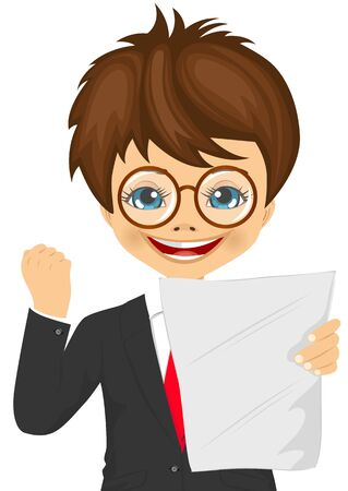 Illustration pour happy little schoolboy with glasses exults pumping fists ecstatic celebrates holding paper with result at college on white background - image libre de droit