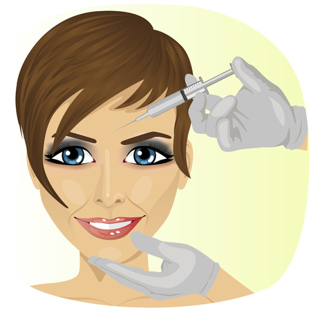 Ilustración de Close-up of woman having botox treatment at beauty clinic - Imagen libre de derechos