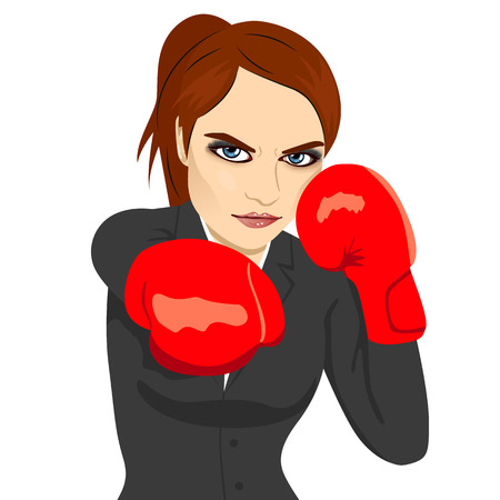Angry business woman boxing punching ready to fight over white background