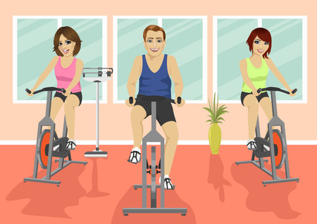 Group of people in the gym, exercising their legs doing cardio training