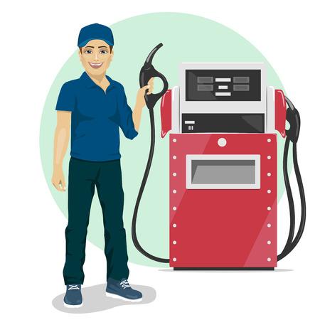 Illustration pour Gas station worker holding a petrol pump standing next to fuel dispenser - image libre de droit