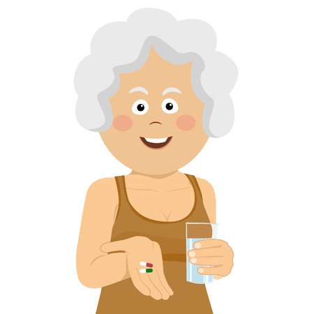 Elderly happy woman holding two pills and glass of water