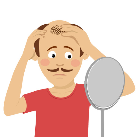 Illustration pour Young man worried about hair loss checking his hair in mirror isolated on white background - image libre de droit