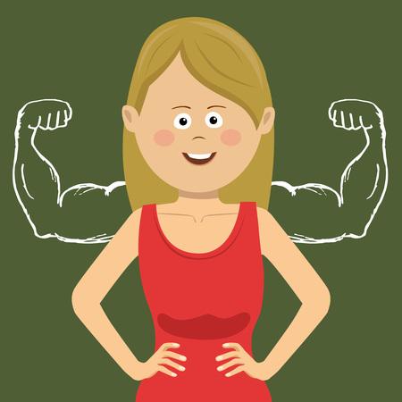 Illustration pour Successful self confident businesswoman with muscles drawn with chalk on blackboard - image libre de droit