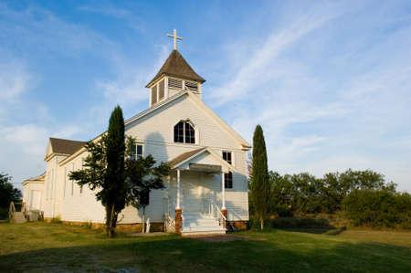 Old American Country church, St. Barbara's Chruch - on the prairie near thurber texas