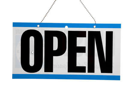 An Open sign on a door on a white background