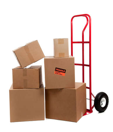 Moving boxes with fragile sticker on a white background