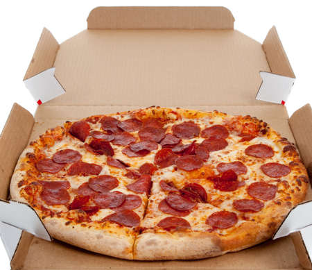 Pepperonli pizza in a box on a white background