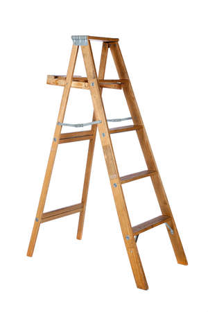A wooden stepladder on a white background with copy space