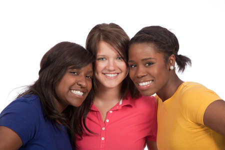 a multicultural group of beautiful female students on a white background