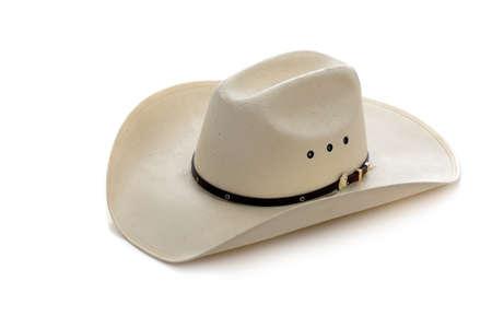 A white cowboy hat on a white background