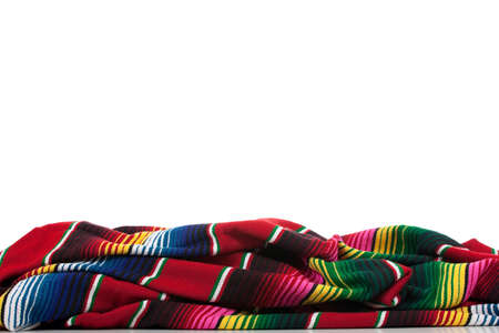 Mexican Serape on a white background with copy space