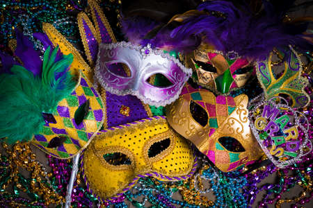 Photo for A group of venetian, mardi gras mask or disguise on a dark background - Royalty Free Image