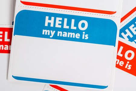 Photo pour Hello my name is paper sticker name badges - image libre de droit