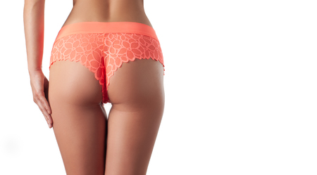 Foto de Skin care and anti cellulite massage. Perfect female buttocks without cellulite in panties. Beautiful woman's butt in underwear. Slim fit woman body. - Imagen libre de derechos
