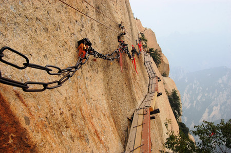 Dangerous walkway via ferrataat top of holy Mount Hua Shan in Shaanxi province near Xi'an, China