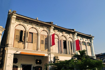 Sino-Portuguese colonial architecture House in Georgetown, Penang, Malaysia