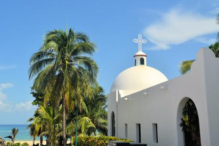 Typical White Mexican church at the beach Playa del Carmen, Quintana Roo, Mexico