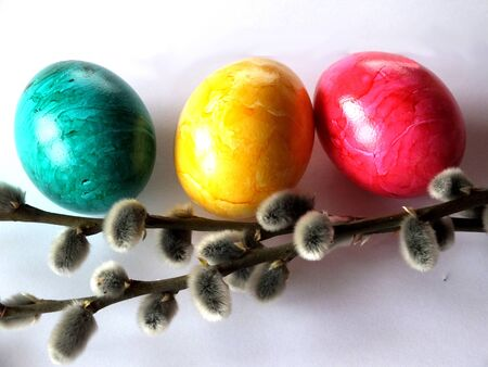Three Eastereggs with two willow twigs