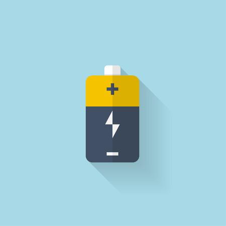 Flat web icon. Battery, accumulator.