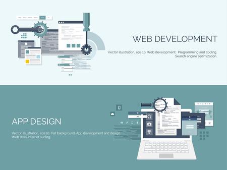 Vector illustration. Flat computing background. Programming,coding. Web development and search. SEO. Innovation, technologies. Mobile app. Development, optimization.