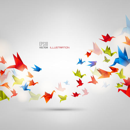 Illustration pour Origami paper bird on abstract background - image libre de droit