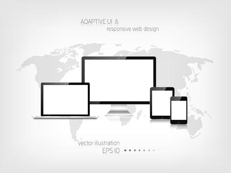 Ilustración de Responsive web design. Adaptive user interface. Digital devises. Laptop, tablet, monitor, smartphone. Web site template concept. - Imagen libre de derechos