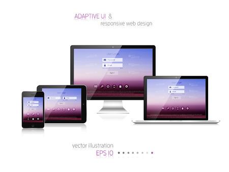 Illustration pour Responsive web design. Adaptive user interface. Digital devises. Laptop, tablet, monitor, smartphone. Web site template concept. - image libre de droit