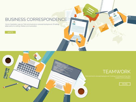 Photo for Flat vector illustration backgrounds set. Business correspondence and communication. Teamwork. Smart solutions. - Royalty Free Image