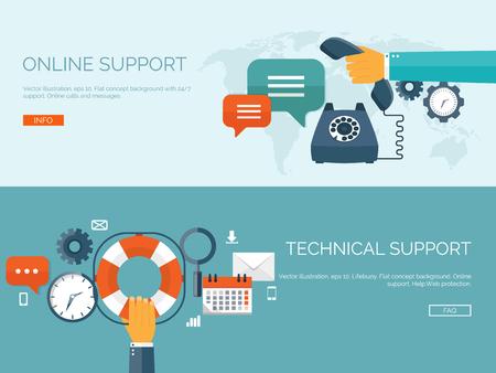 Illustration pour Vector illustration. Online support concept background. 24/7. Contact us. - image libre de droit