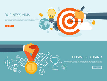 Vector illustration set. Flat business concept background. Achievements and mission. Aims and new ideas. Smart solutions.  First place. Medal.