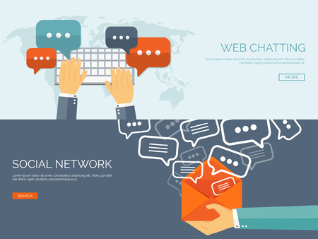 Vector illustration.  Global communication. Social network and chatting. Emailing and sms. Web calls. Internet.