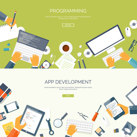 Illustration pour Vector illustration. Flat backgrounds set. Programming and coding online. Web courses. Internet and web design. App development. - image libre de droit