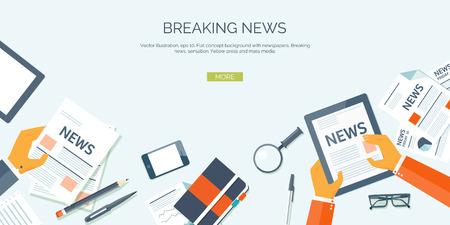 Foto de Vector illustration. Flat header. Online news. Newsletter and information. Business and market news. Financial report. - Imagen libre de derechos