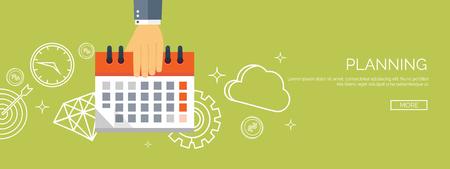 Illustration pour Vector illustration. Flat date and time background. Planning. Time management. - image libre de droit