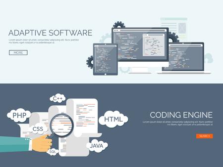 Vector illustration. Flat background. Coding, programming. SEO. Search engine optimization. App development and creation. Software, program code. Web design.