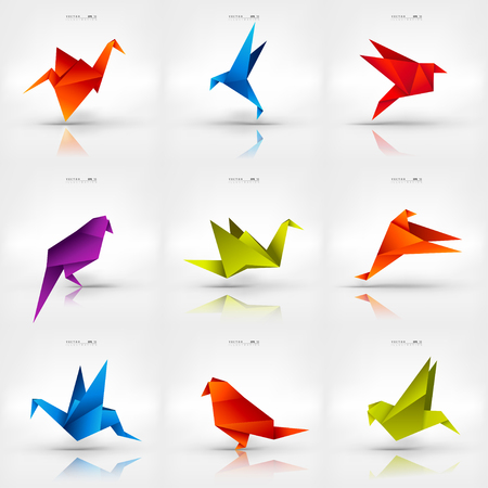 Illustration for Origami paper bird on abstract background. Set. - Royalty Free Image