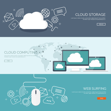 Ilustración de Vector illustration. Flat cloud computing background. Data storage network technology. Multimedia content and web sites hosting. Memory, information transfer. - Imagen libre de derechos