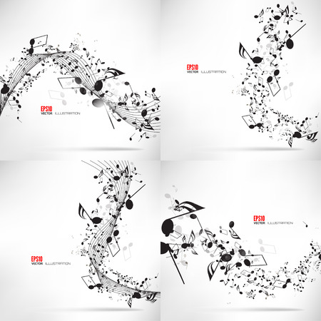 Illustration pour Vector illustration. Music, abstract musical background with notes. - image libre de droit