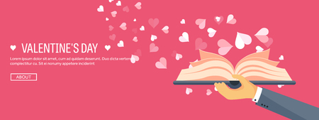 Illustration pour Vector illustration. Flat background with book. Love, hearts. Valentines day. Be my valentine. 14 february. - image libre de droit