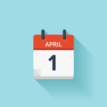 Ilustración de April 1. Vector flat daily calendar icon. Date and time, day, month. Holiday. - Imagen libre de derechos