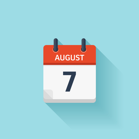 August 7. Vector flat daily calendar icon. Date and time, day, month. Holiday.