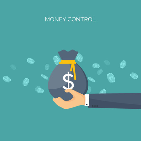 Illustration for Vector illustration. Flat background with, money bag. Money making. Bank deposit.  Financials. - Royalty Free Image