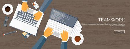 Illustration pour Vector illustration. Flat header. Teamwork. Smart solutions. Programming, coding. - image libre de droit