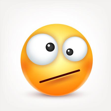 Ilustración de Smiley,emoticon. Yellow face with emotions. Facial expression. 3d realistic emoji. Funny cartoon character.Mood. Web icon. Vector illustration. - Imagen libre de derechos